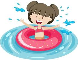 Cute girl with pink swimming ring in the water isolated vector