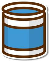 Blue can cartoon sticker on white background vector