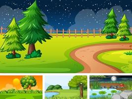 Four different scene of nature park and forest vector