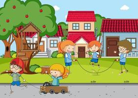 Playground scene with many kids vector