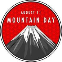 Mountain Day banner with Mount Fuji on Red background vector