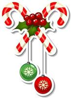 Sticker template with Cross Candy Cane isolated vector
