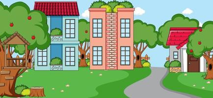 Outdoor scene with front of many houses and long road vector