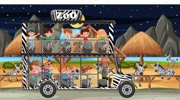 Safari at night time scene with children watching zebra group vector