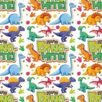 Seamless pattern with cute dinosaurs and font on white background vector
