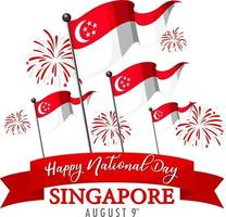 Singapore National Day banner with Singapore flag and fireworks vector