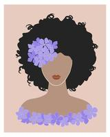 Cute black young woman with curly hair and purple hydrangea flower. Brunette girl afro hairstyle pastel color portrait. Trending boho wall art fashion print poster. Stock vector illustration.