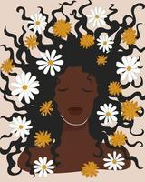 Beautiful black woman with chamomile flowers in her loose hair. Boho mid century wall art. Dark skinned brunette girl. Hand drawn printable poster postcard. Stock vector minimal illustration.