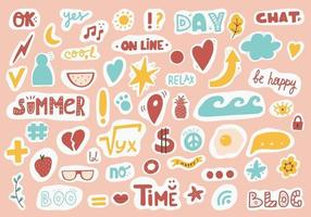 Cute sticker template decorated with cartoon image and trendy lettering. Signs, symbols, objects for scheduler or organizer. Vector illustration