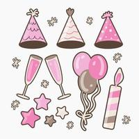 Big bundle of isolated vector elements for birthday party decoration and calibration, flat Colorful vector icon illustration