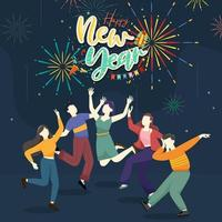 Happy people or office workers, employees hold big numbers 2021. Group of friends or team wish Merry Christmas and happy New Year vector