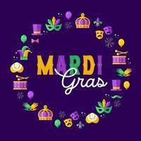 Holiday poster vector illustration template design Mardi Gras element