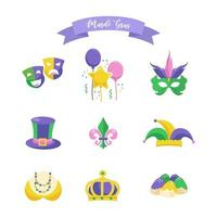 Holiday poster with vector illustration template design  Mardi Gras element