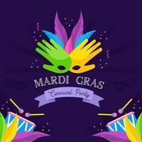 Happy Mardi Gras Carnival Festive vector design element