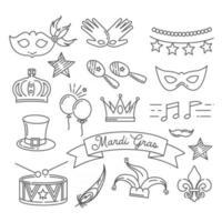 Mardi Gras festive black and white vector icon
