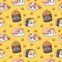 seamless pattern with sushi set vector