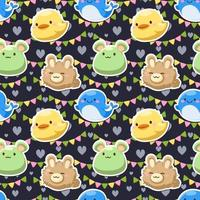 Seamless cute animal cartoon characters flat vector illustration