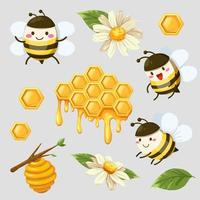 bundle of isolated cute bee and honeycomb in cartoon characters collection vector