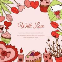 Valentines day greeting card with hand drawn elements. Social media stories template. Vector illustration