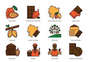 conjunto de iconos de origen de cacao de ecuador vector
