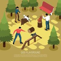 Cynologist Playground Isometric Composition Vector Illustration