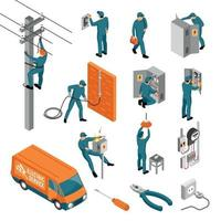 Electrician Isometric Icons Collection Vector Illustration
