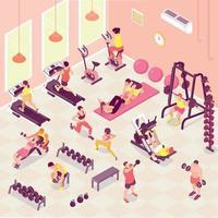 Isometric Fitness Illustration Vector Illustration