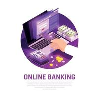 Online Banking Isometric Round Composition Vector Illustration