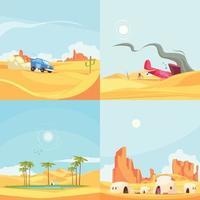 Flat Desert Design Concept Vector Illustration