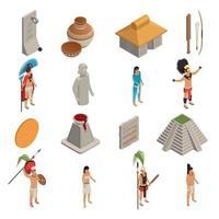 Maya Civilization Isometric Icons Vector Illustration