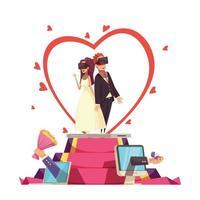 Online Love Wedding Composition Vector Illustration
