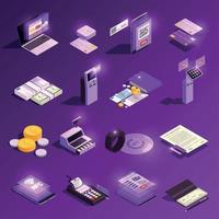 Payment Methods Glowing Isometric Icons Vector Illustration