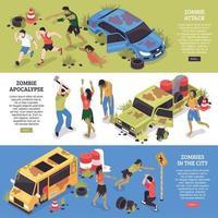 Ilustración de vector de colección de banners horizontales zombie