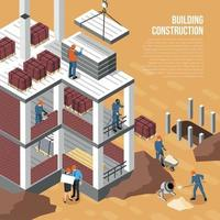 Isometric Building Construction Background Vector Illustration