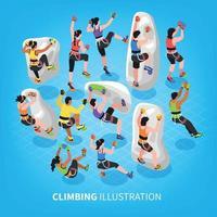 Isometric Climbing Sports Background Vector Illustration