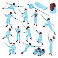 Fencing Sport Isometric Set Vector Illustration