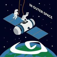 Astronaut Outer Space Background Vector Illustration