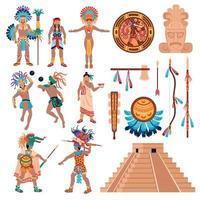 elementos de la cultura maya establecen ilustración vectorial vector