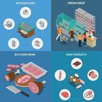 Isometric Butchery Design Concept Vector Illustration