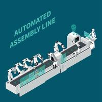 Assembly Line Isometric Background Vector Illustration