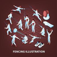 Sword Play Sports Background Vector Illustration
