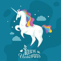 Unicorn Cartoon Background Vector Illustration