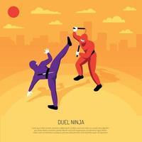 Ninja Duel Isometric Composition Vector Illustration
