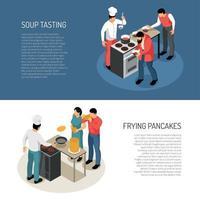 cocinar pancartas isométricas vector illustration