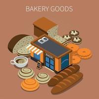Bakery Goods Isometric Background Vector Illustration