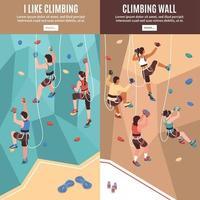 Climbing Vertical Banners Set Vector Illustration