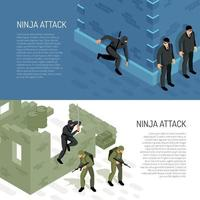 Ninja Isometric Banners Vector Illustration