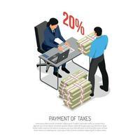 Tax Inspector Isometric Poster Vector Illustration