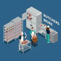Butchery Shop Floor Background Vector Illustration