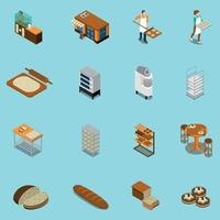 Bakery Production Icons Collection Vector Illustration
